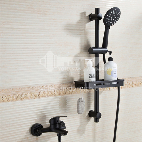 Black simple shower set, copper hot and cold faucet, bathtub shower with lifting frame, handheld shower spray