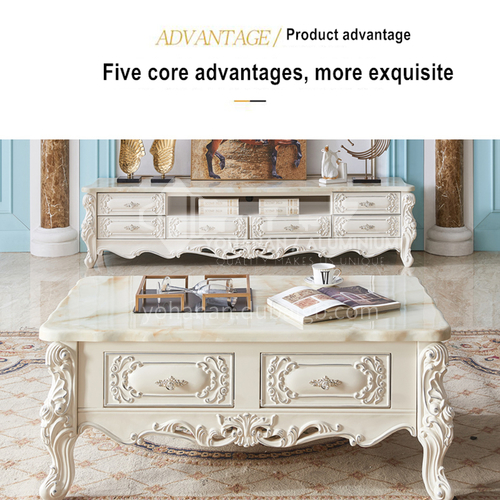 BJ-CB15-Living room Jane European style marble Thai oak Jane European style solid wood carved TV cabinet
