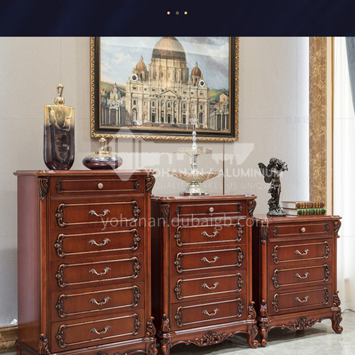 BJ-DG02-Living room Jane European-American classical Thai oak Jane European-American solid wood carved hardware handle drawer