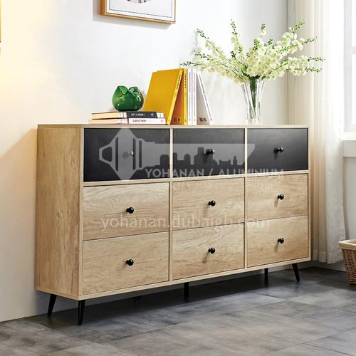 BJ-YNL-DG-601- Nordic minimalist style, paint-free frame, iron feet, Nordic minimalist chest of drawers