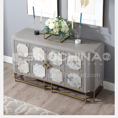 BJ-M805 Light luxury post-modern solid wood gray porch cabinet, metal marble pattern side cabinet, guest cabinet