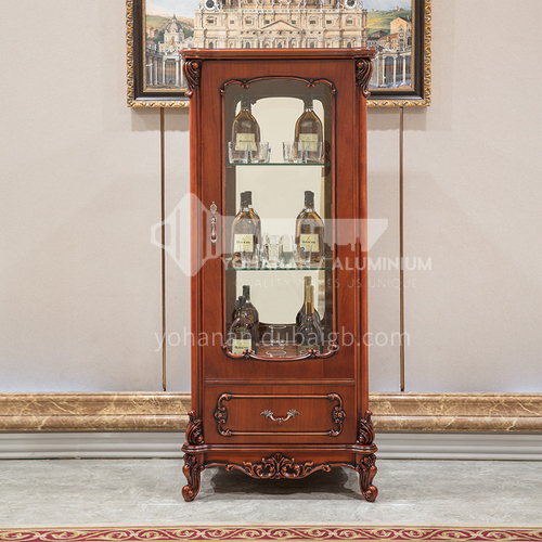 BJHG-JG01 American solid wood wine cabinet living room furniture European style living room furniture high and low style home wall carved display cabinet JG01