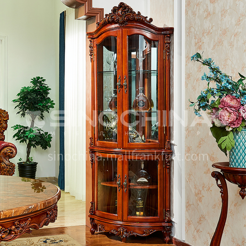 BJHG-JG03 American solid wood wine cabinet living room furniture European-style living room furniture home wall carved display cabinet triangle wine cabinet JG03