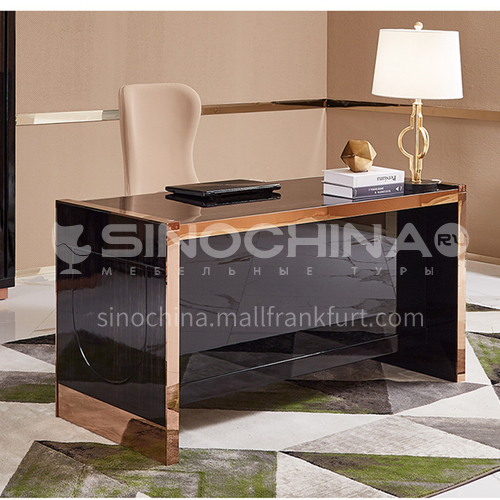 BJ-M3 Bedroom Light Luxury Concise Desk + Combination of Board and Wood + Metal
