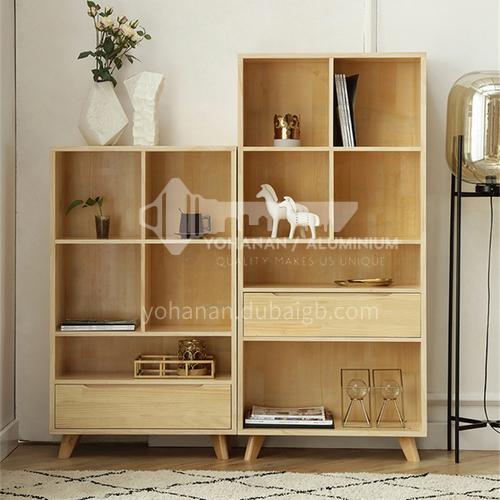 XDD-406 408 Bedroom Nordic modern log color bookcase + multi-layer cabinet + storage cabinet