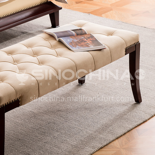 BJ-M105- North European and American style, solid wood feet, high-quality fabric, sponge cushion, American bed foot chair