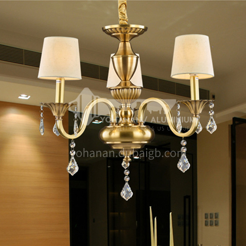 All copper European style chandelier modern minimalist dining room light luxury bedroom living room lamp room household chandelier-OM-M0509B