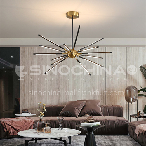 Black living room chandelier simple modern atmospheric home lighting Nordic restaurant lamp bedroom lamp-YMR-Y2060Black