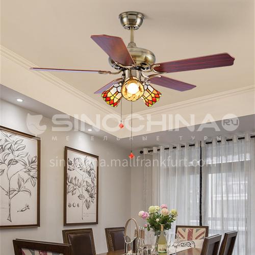 Ceiling fan light bedroom dining room Mediterranean American LED wood leaf living room retro fan-KBS-4213