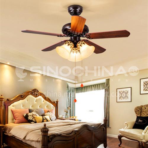 American LED Ceiling Fan Light Nordic Household Simple Living Room Dining Fan Light Bedroom Country Retro Fan Light-KBS-5220