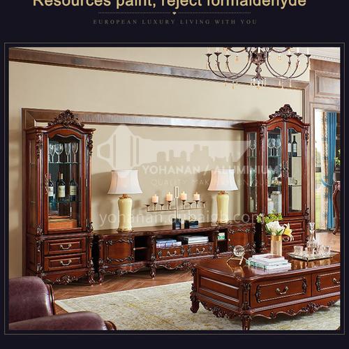 BJ-JG02 Living room American single and double door wine cabinet display showcase European style imported Thai oak wine cabinet storage
