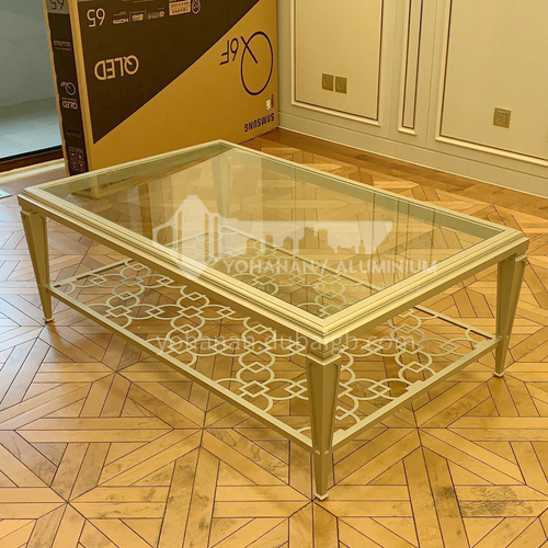 BJ-M102-Light luxury simple modern tempered glass coffee table American living room solid wood stainless steel hollow rectangular coffee table