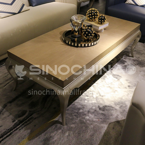 BJ-M111-American solid wood simple coffee table, light luxury champagne coffee table, square side table