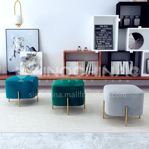 CL-shoe stool living room bedroom modern leisure minimalist flannel material shoe changing stool + high density sponge + stainless steel gilding