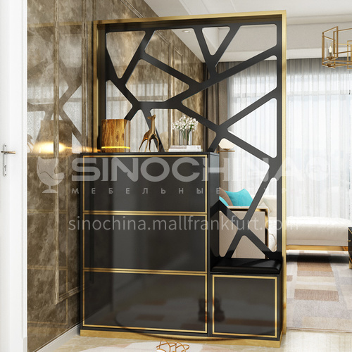 CL-GJ401 Modern minimalist living room partition cabinet + stainless steel gilded + piano paint + environmental protection board