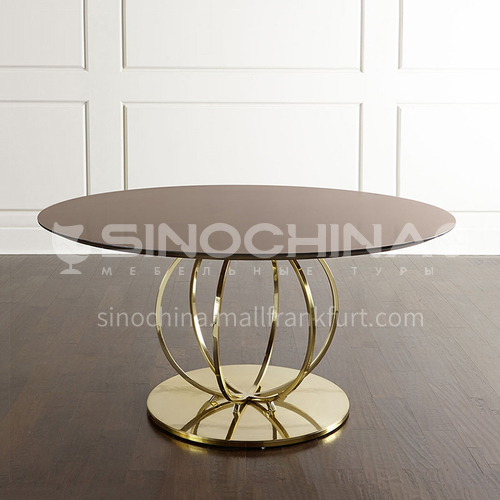 BJ-M108 American light luxury solid wood dining table, simple post-modern style dining table and chair combination stainless steel round dining table