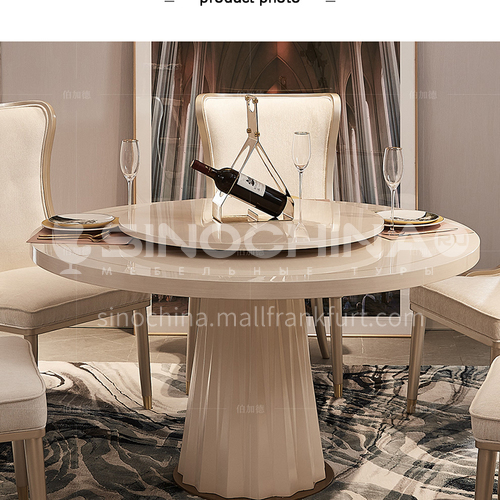 BJ-M801 American light luxury solid wood dining table and chair combination household round dining table and chair with turntable furniture
