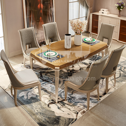 BJ-M802 American light luxury solid wood dining table and chair household rectangular dining table and chair combination furniture