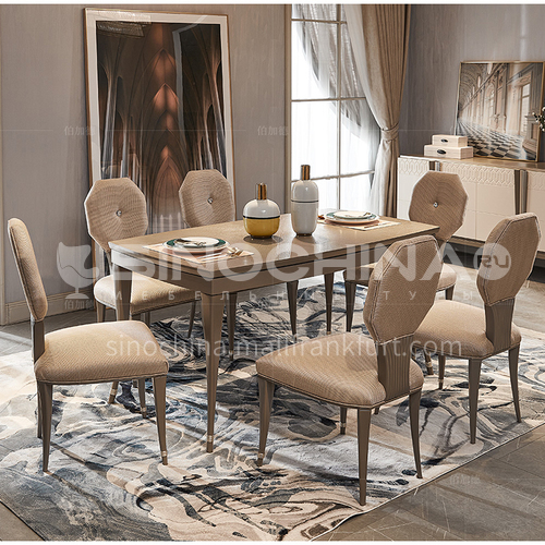 BJ-M803 American light luxury solid wood dining table and chair household rectangular dining table and chair combination furniture