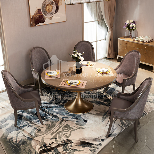 BJ-M806, M801 American light luxury solid wood dining table and chair household round dining table and chair combination high-end furniture