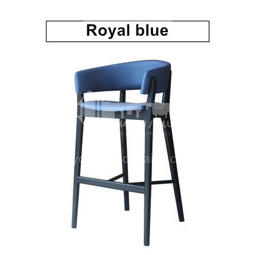 HH-B456 Bar chair high chair ash wood + island green leather, solid wood durable
