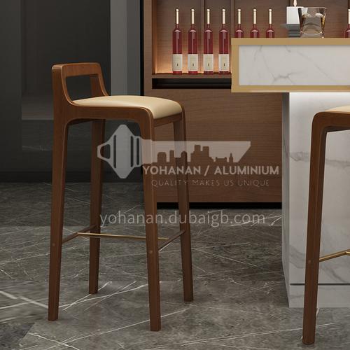 HH-FS203 Original wood bar chair high chair ash wood + island green leather solid wood