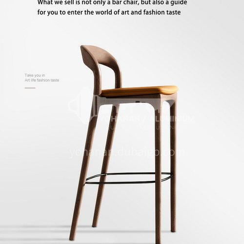 HH-FS208 New original wood bar chair high chair ash wood + island green leather solid wood