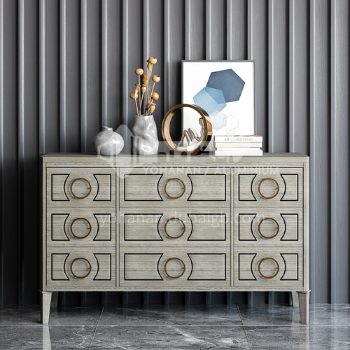 HH-19809A High-end gray high-end restaurant sideboard, wood + high-quality stainless steel