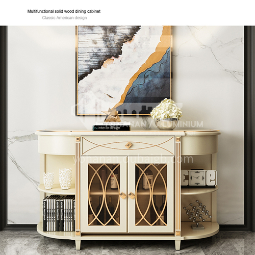 HH-TO8601 High-end restaurant sideboard mahogany frame + solid wood plywood + tempered glass + high quality stainless steel