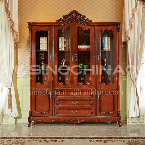BJ-SG01 bookcase classic four-door room solid wood bookcase, imported Thai oak, environmentally friendly paint