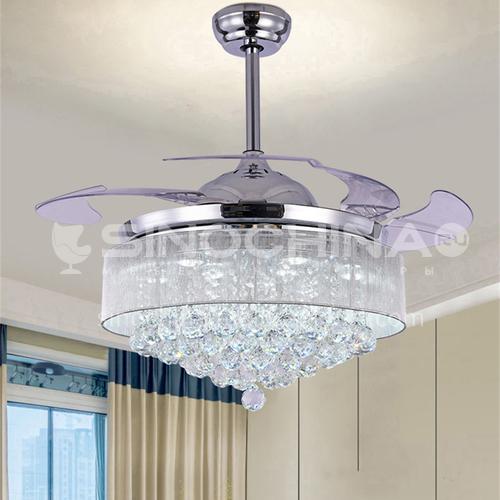 Dining room invisible fan chandelier light luxury crystal living room ceiling fan light simple modern personality bedroom fan light-KBS-Y4201