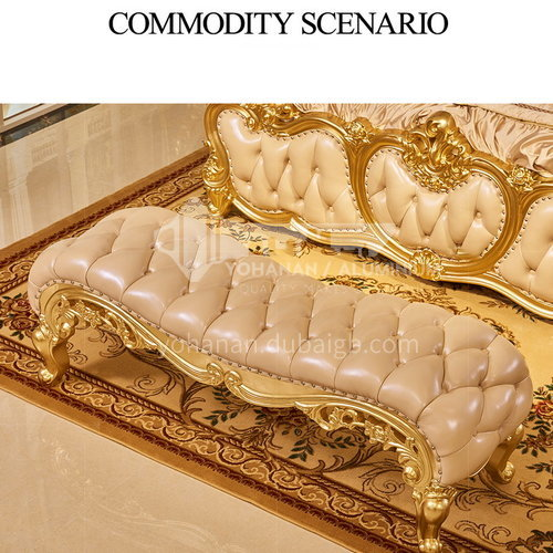 BJHG-CD02- European classical style, imported Thai oak, imported cowhide, European luxury bed end stool