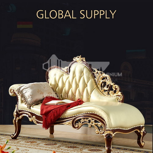 BJHG-GF02- European classical style, imported Thai oak, imported first layer cowhide, European classical bed end chair