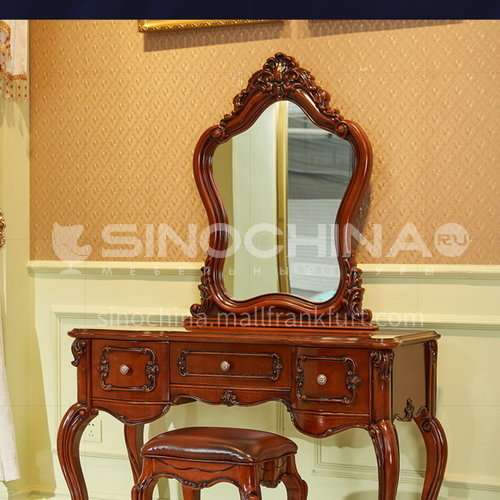 BJ-ZT01- American classic style, imported Thai oak, imported first layer cowhide, American classic dressing table, makeup chair