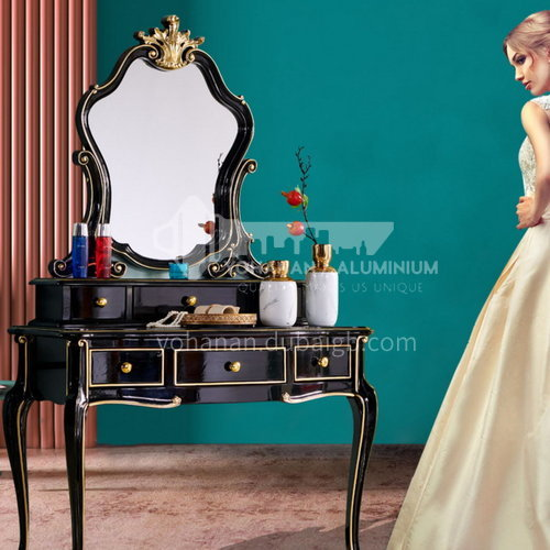BJ-ZT03- American light luxury style, imported Thai oak, imported cowhide, American dressing table, makeup stool