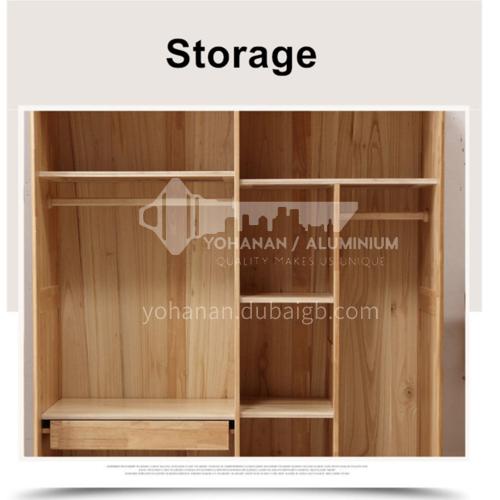 XDD-YF-11- Nordic minimalist style, walnut cabinet, built-in handle, high-quality door hinges, simple wardrobe