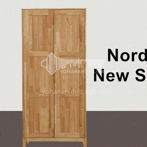 XDD-YF-12- Nordic minimalist style, walnut cabinet, embedded handle, high-quality door hinges, Nordic wardrobe