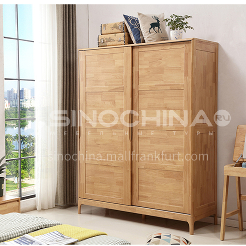 XDD-YF-13- Nordic minimalist style, walnut cabinet, embedded handle, high-quality door hinges, Nordic minimalist wardrobe