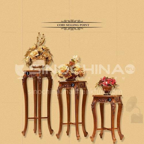 BJ-HJ01-Living room entrance high-end European classical hand-carved imported Thai oak flower stand
