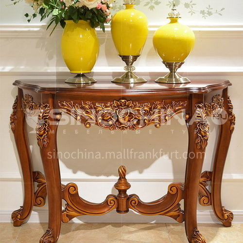 BJ-XG02 living room entrance cabinet high-end European classic + hand-carved + Thai imported oak
