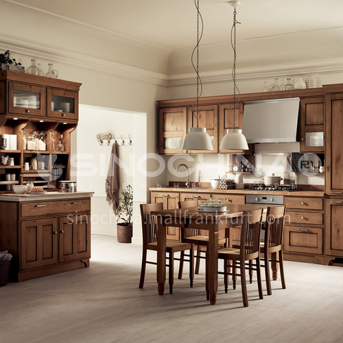 American style classical wind glass cabinet high density board blister kitchen cabinet-GK-652
