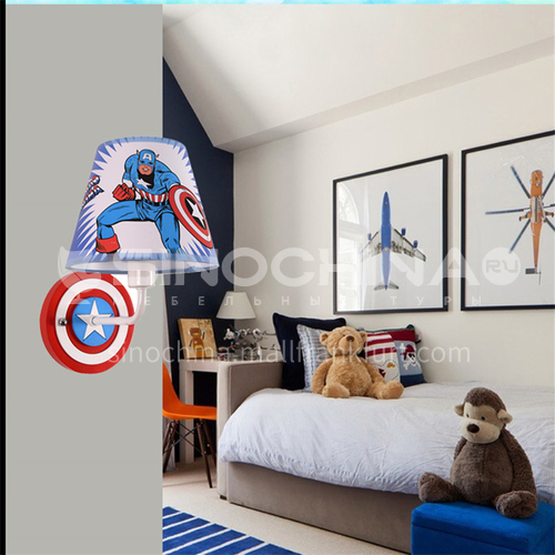American cartoon spiderman led bedside lamp creative boy bedroom Captain America clock wall lamp-DDBE-W-303