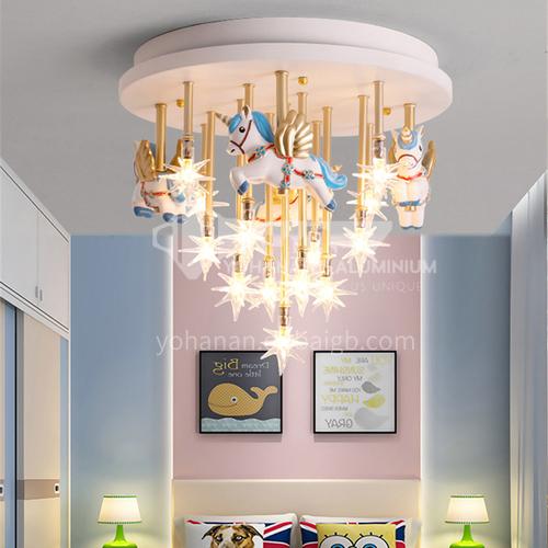 Boy girl princess room chandelier American Nordic creative cartoon carousel light-DDBE-P-1523