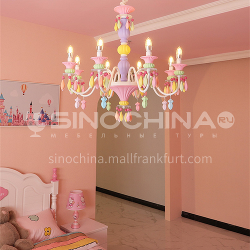 Cartoon lamp princess room bedroom lamp LED girl creative ins personality macaron chandelier-DDBE-P-1618