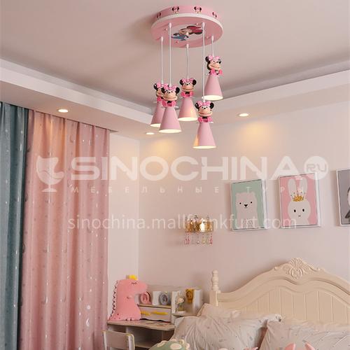 Cartoon chandelier Mickey girl modern minimalist princess room warm eye protection bedroom chandelier-DDBE-P-1702-5-pink