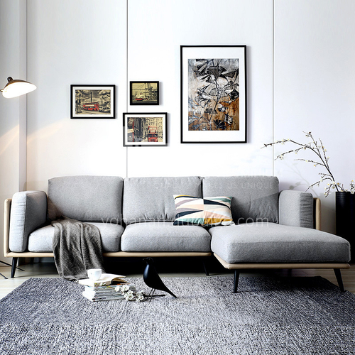 MY-602 Living room high-end Italian minimalist high-quality fine cotton fabric sofa + 45 density sponge for seat bag + 3A doll cotton for bag and pillow + hardware frame + hardware feet