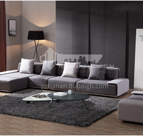 MY-609 living room high-end Italian minimalist high-quality cotton fabric sofa + 45 density sponge for seat bag + 3A doll cotton for pillow + hardware frame + plastic feet