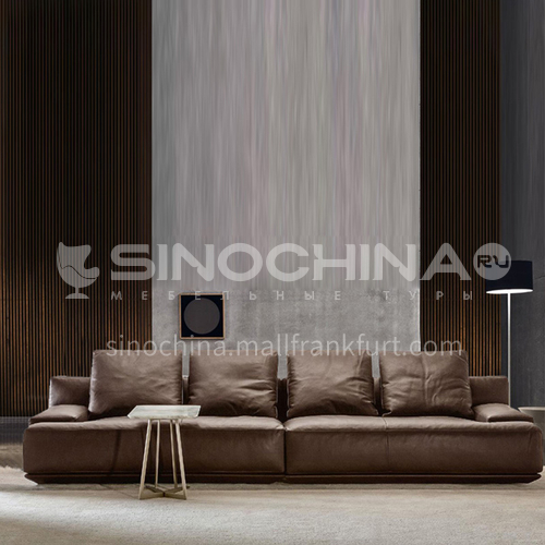 MY-688 Living room high-end Italian minimalist first-layer leather sofa + sponge seat bag 45 density + down + contact surface with Napa