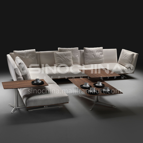 MY-826-Living room high-end Nordic Italian minimalist linen fabric sofa + seat bag down + armrest bag down + hardware base