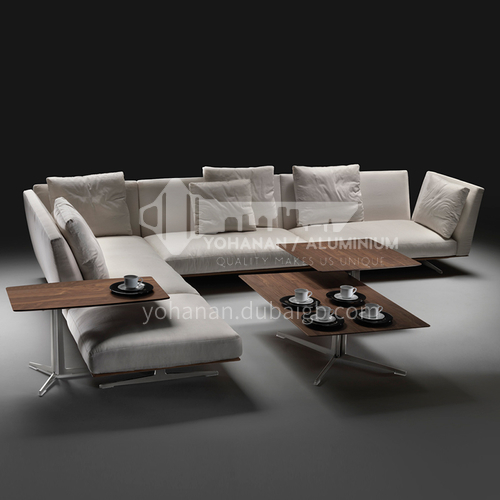 MY-826-Living room high-end Nordic Italian minimalist linen fabric sofa + seat bag down + armrest bag down + hardware base
